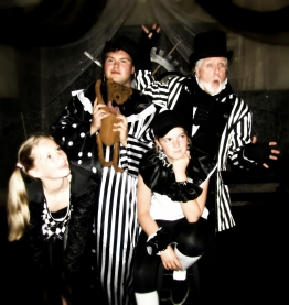 Myah Myers as Boo Hoo, Brandon Bogart as Itsy Bitsy, Jillian LeBel as Marbles, and Richard O'Donnell as Belvedere Brumbleton in Brazillia R. Kreep's ALICE ISN'T ALL THERE!